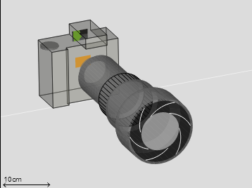 camera simulator - vue 3D - apn et objectif