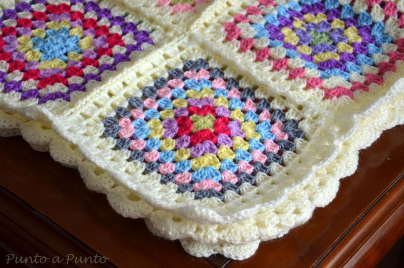 Entre lanas y tramas crochet granny square blanket o la - Punto de ganchillo para mantas ...