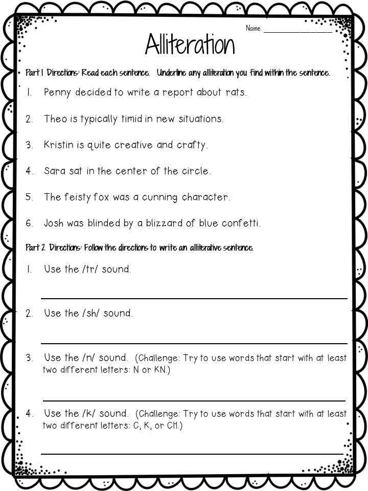 Crafting Connections: Alliteration Anchor Chart (plus ...