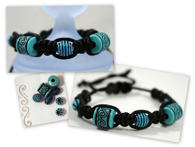 Shambhala bracelet (turquoise beads, cord) :: All Pretty Things