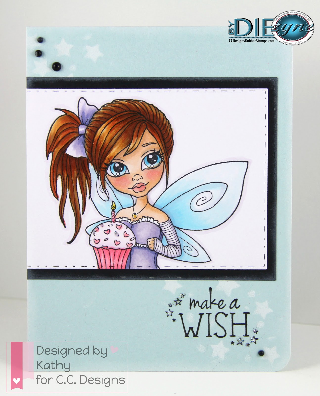 cc designs, cupcake faery, big stitched and pierced rectangles dies