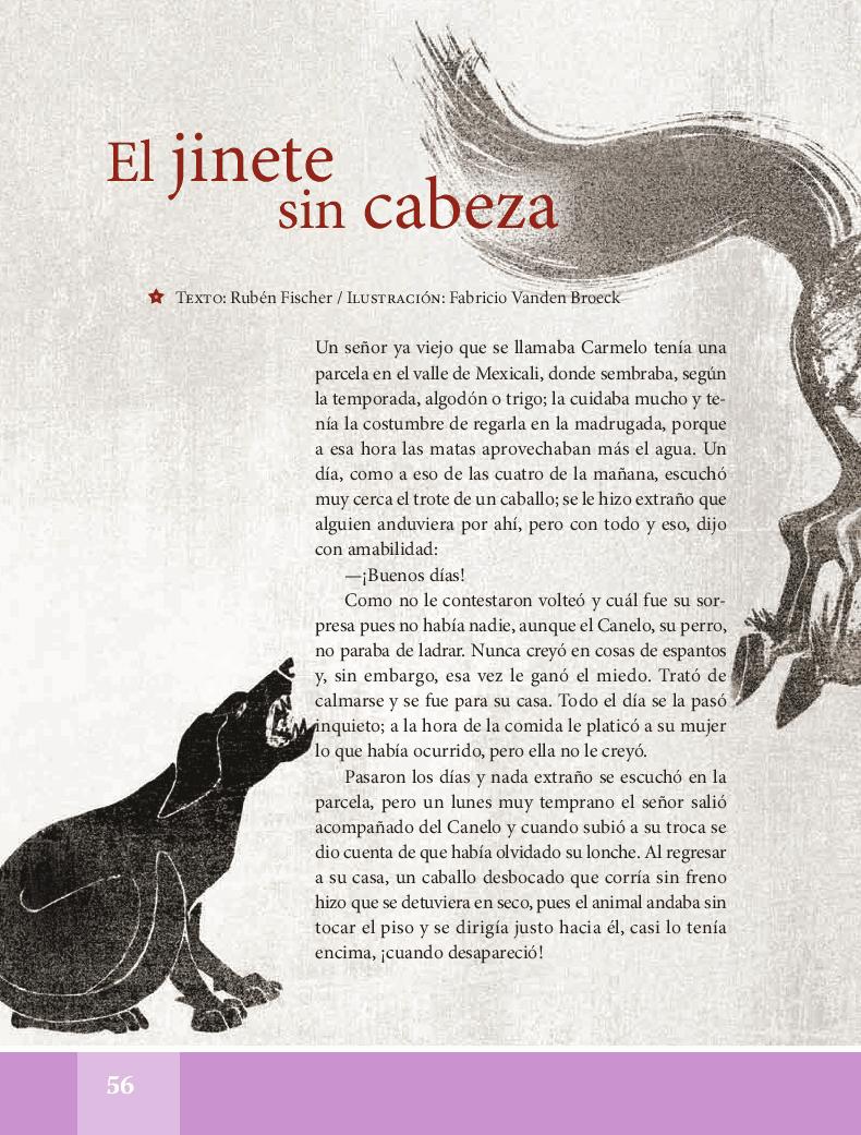 El jinete sin cabeza - Español Lecturas 5to 2014-2015