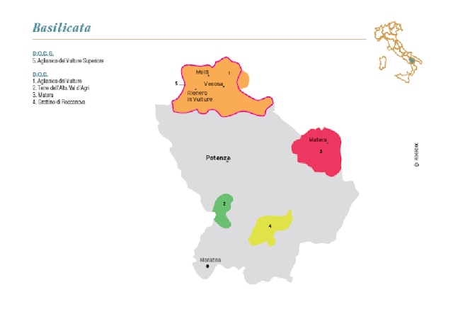 Map of Basilicata wine regions