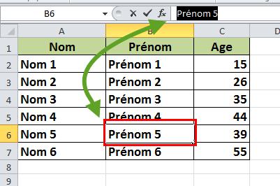 Sélectionner le contenu d'une cellule barre de formule