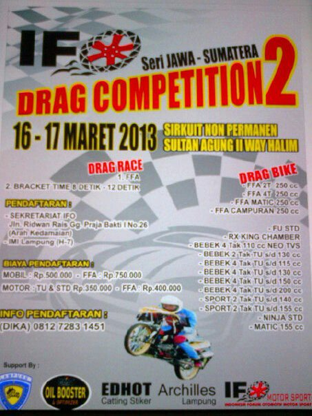 IFO DRAG COMPETITION seri II 2013 (jawa-sumatera) Lampung 16-17 Maret
