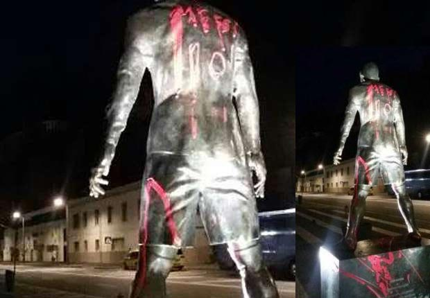 Haters Vandalize Ronaldo Statue In Portugal, Paints It With Messi Name, Number, Barcelona Colors (Photos)