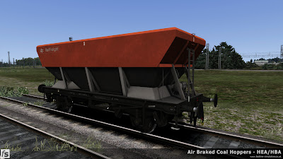 Fastline Simulation - HBA/HEA Coal Hoppers: Early HBA hopper with central ladder and small supports at the hopper corners in Railfreight flame red and grey livery.