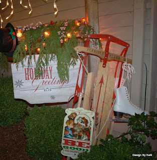 Christmas sign, sleigh, Porch