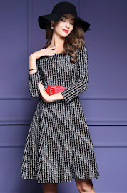 New 2016 Three Quarter Sleeve Patterned Black Flare Dress