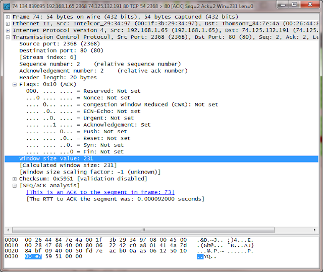 Wireshark packet details