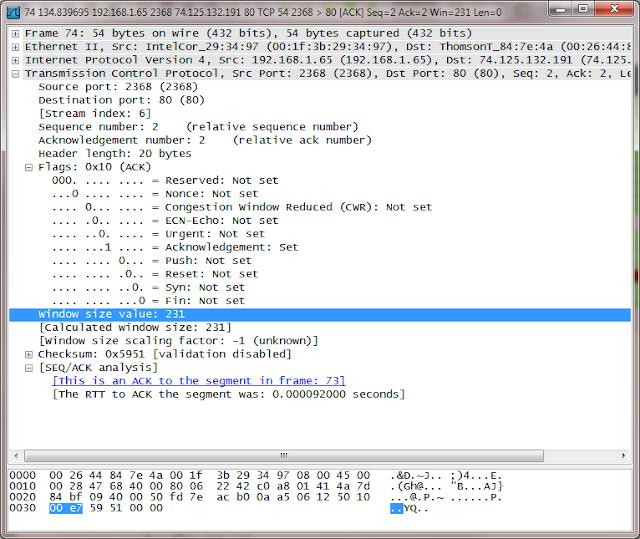 Wireshark packet details