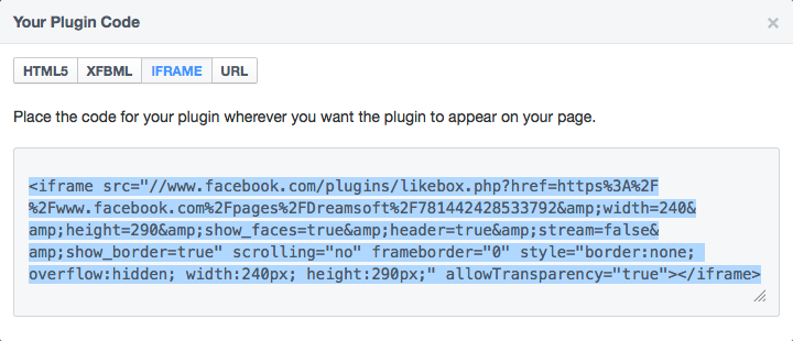 Social Plugin iFrame Code