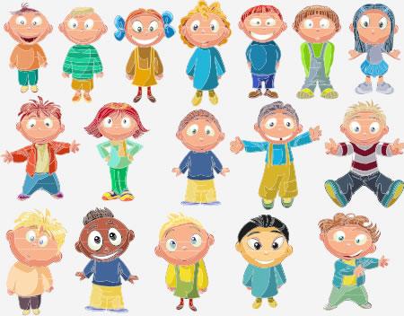 cheerful kids CDR vector
