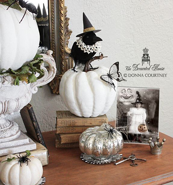 The Decorated House :: Halloween Decorating with Black and White. Come see the funny crows all dressed up for the holiday, and get some more fun ideas for decorating Halloween in Black and White!