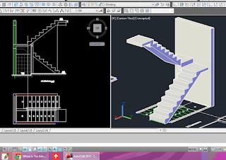 AUTO CAD GAMBAR TANGGA BETON 2D+3D (DWG FILE)