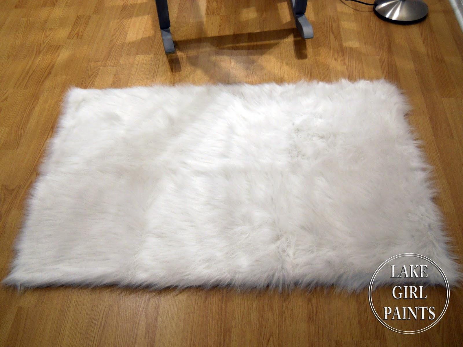 Lake Girl Paints Rocker In Shabby Denim Paint And White Fur