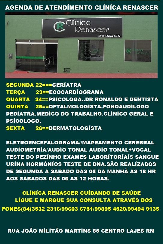 AGENDA SEMANAL DA CLÍNÍCA RENASCER LAJES RN