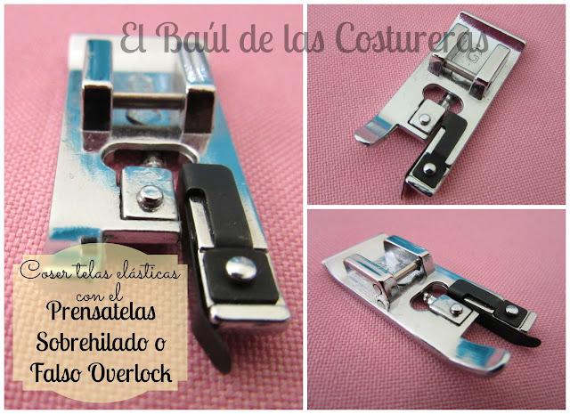 Coser telas elásticas con el prensatelas para bordes sobrehiilados falso overlock