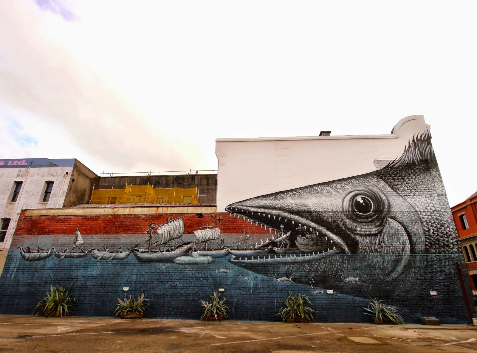 After appearing in Perth, Australia last month (covered), Phlegm is now in New Zealand where he just wrapped up this massive new piece on the streets of Dunedin.