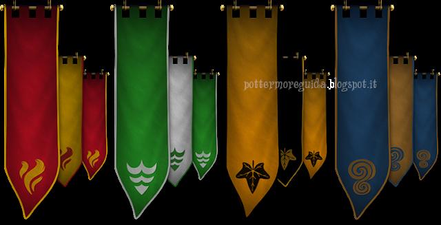 Gli stendardi delle 4 case coi loro 4 elementi