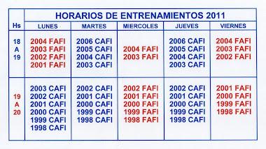 HORARIOS DE ENTRENAMIENTO