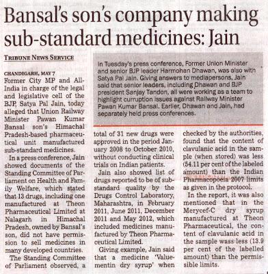 Bansal's son's company making sub-standard medicines: Satya Pal Jain