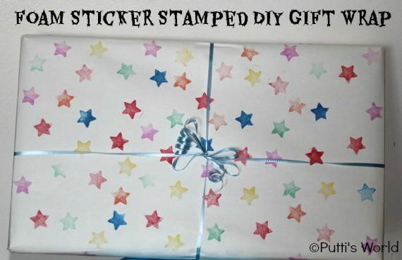 DIY Foam Sticker Stamped Gift Wrap