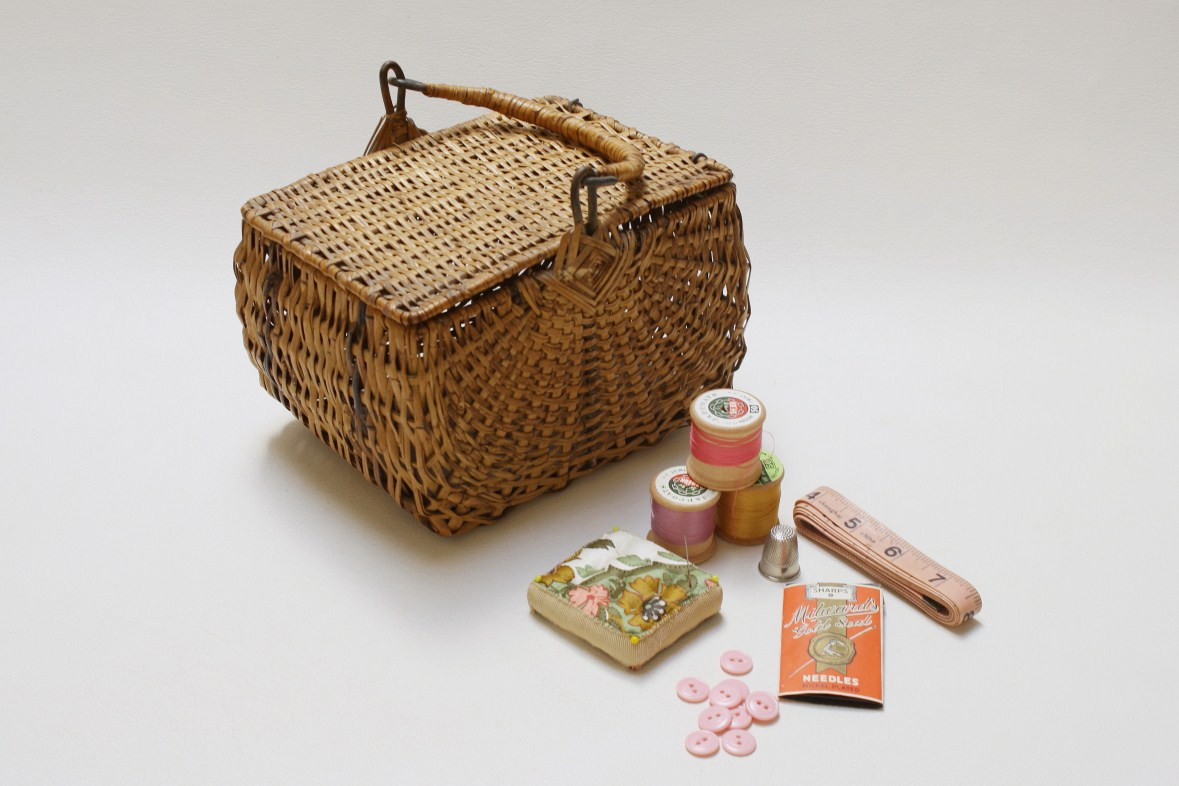 Vintage Wicker Sewing Basket 23