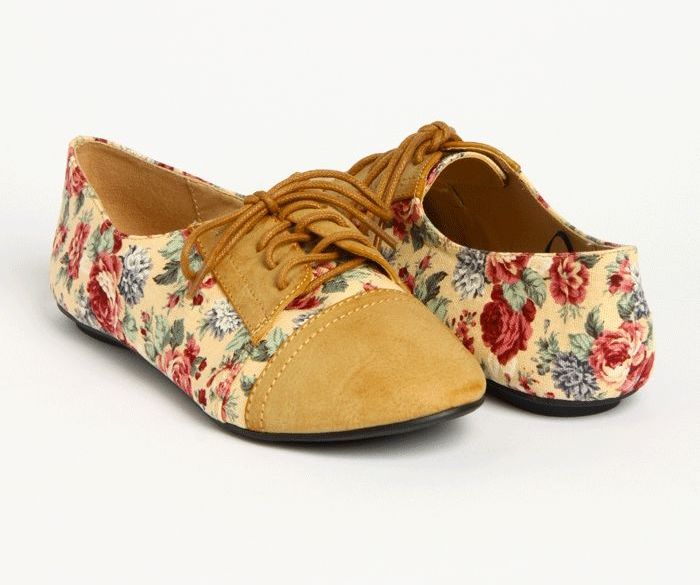 Tan and floral oxford Shoes