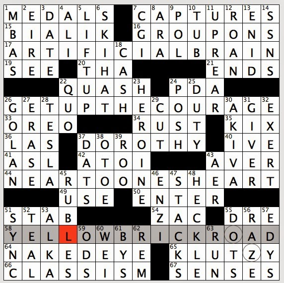 Rex parker does the nyt crossword puzzle wyoming senator mike tue theme yellow brick road 58a path taken by 37 across to find the ends of 17 26 and 44 across in circled letters path taken by dorothy 37a 23 down ccuart Gallery