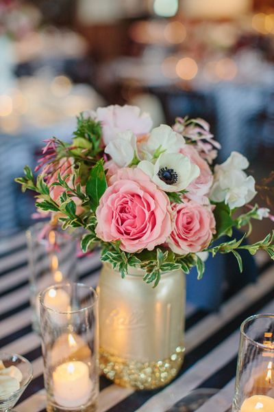 Beautiful bridal most mason jar centerpieces