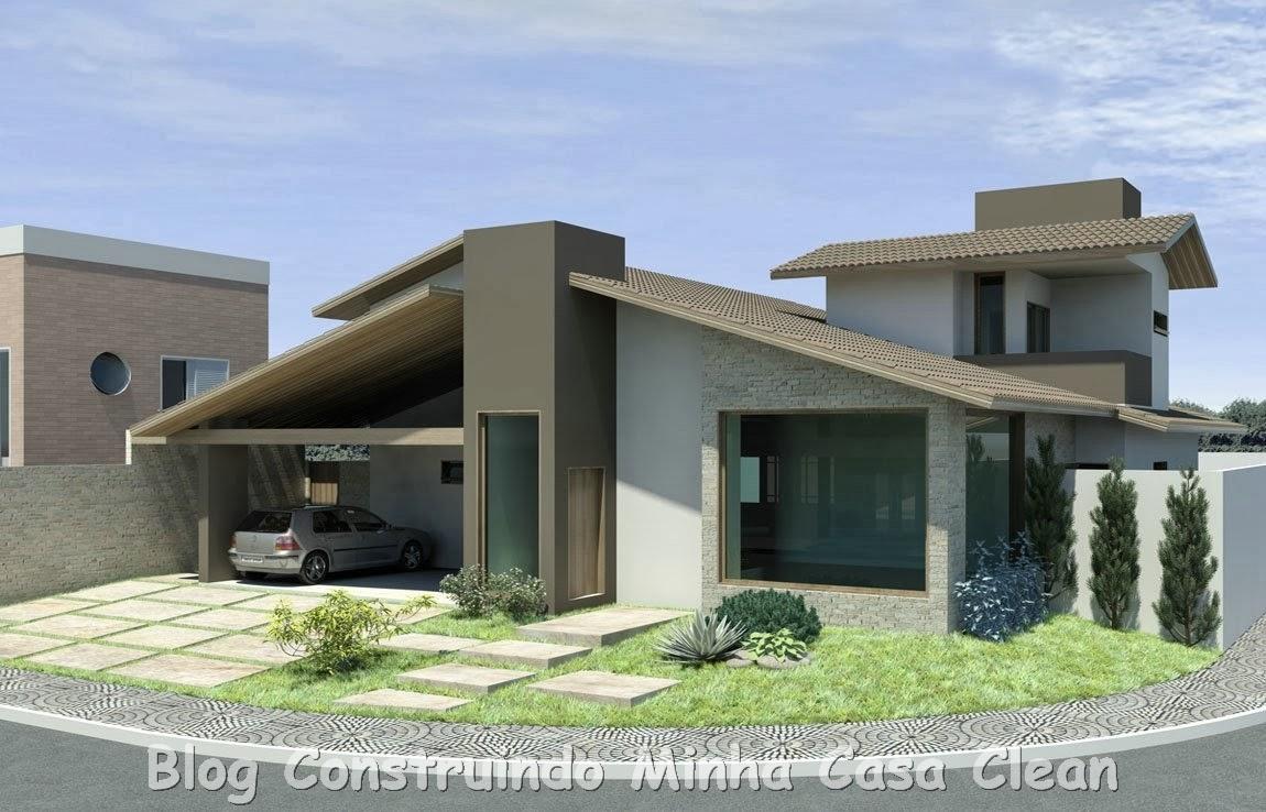 Construindo minha casa clean 20 fachadas de casas for Modelos de fachadas modernas para casas