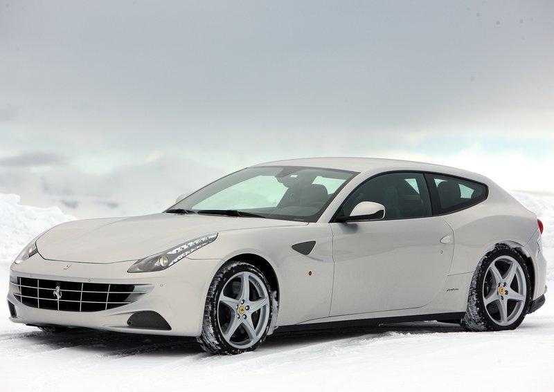Automobiles Company Ferrari Ff Silver In Snow 2012