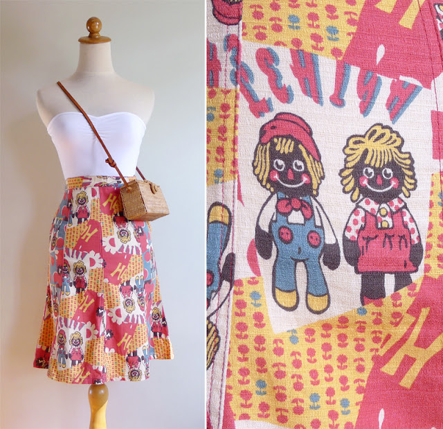 vintage 70's novelty doll print skirt