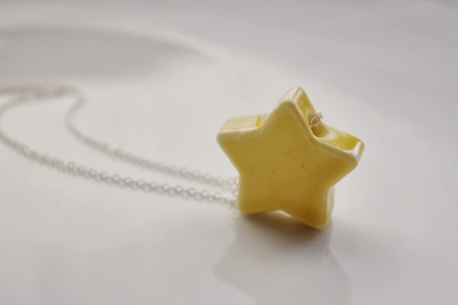 http://folksy.com/items/4992432-Pastel-yellow-ceramic-porcelain-star-pendant-necklace-Ceramic-jewellery