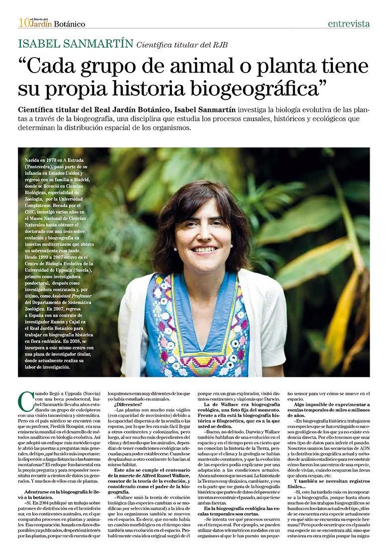 Isabel Sanmartin, Cientifica del RJB