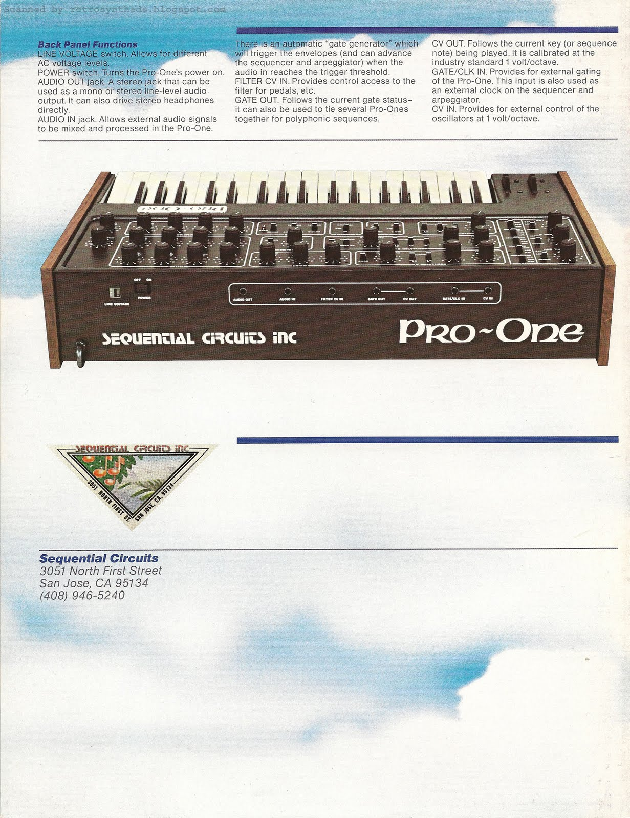 Retro Synth Ads Sequential Circuits Inc Pro One Spec Sheet 1981 Circuit Board Dream Maker Rs101