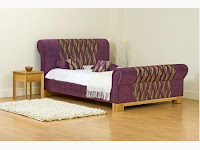 Purple Patterned Upholstered Bed on Mattressman.co.uk