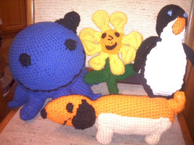 Shades of Safhire - Oswald and Friends crocheted buddies