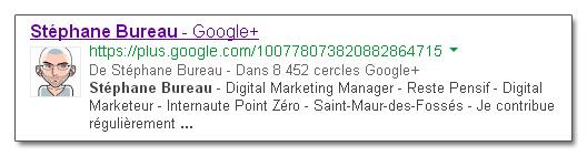 Descriptif profil GooglePlus dans SERP