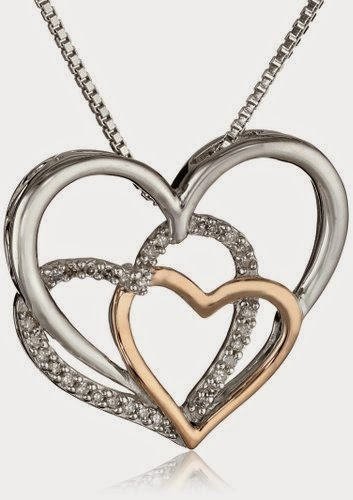 XPY Sterling Silver, 14k Rose Gold, and Diamond Triple Heart Pendant Necklace, 18""