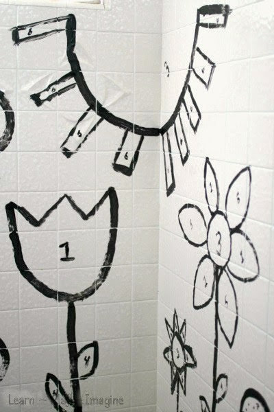 Paint by number in the shower - making learning fun