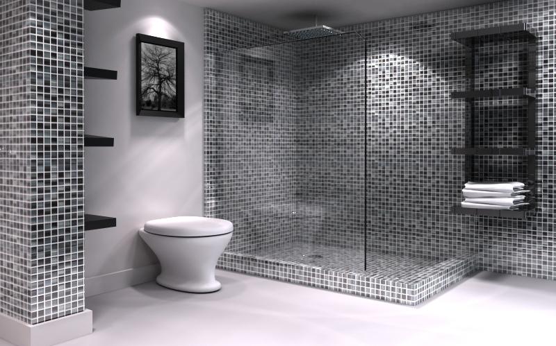 Marcenaria Modelo # Banheiros Com Pastilhas Escuras