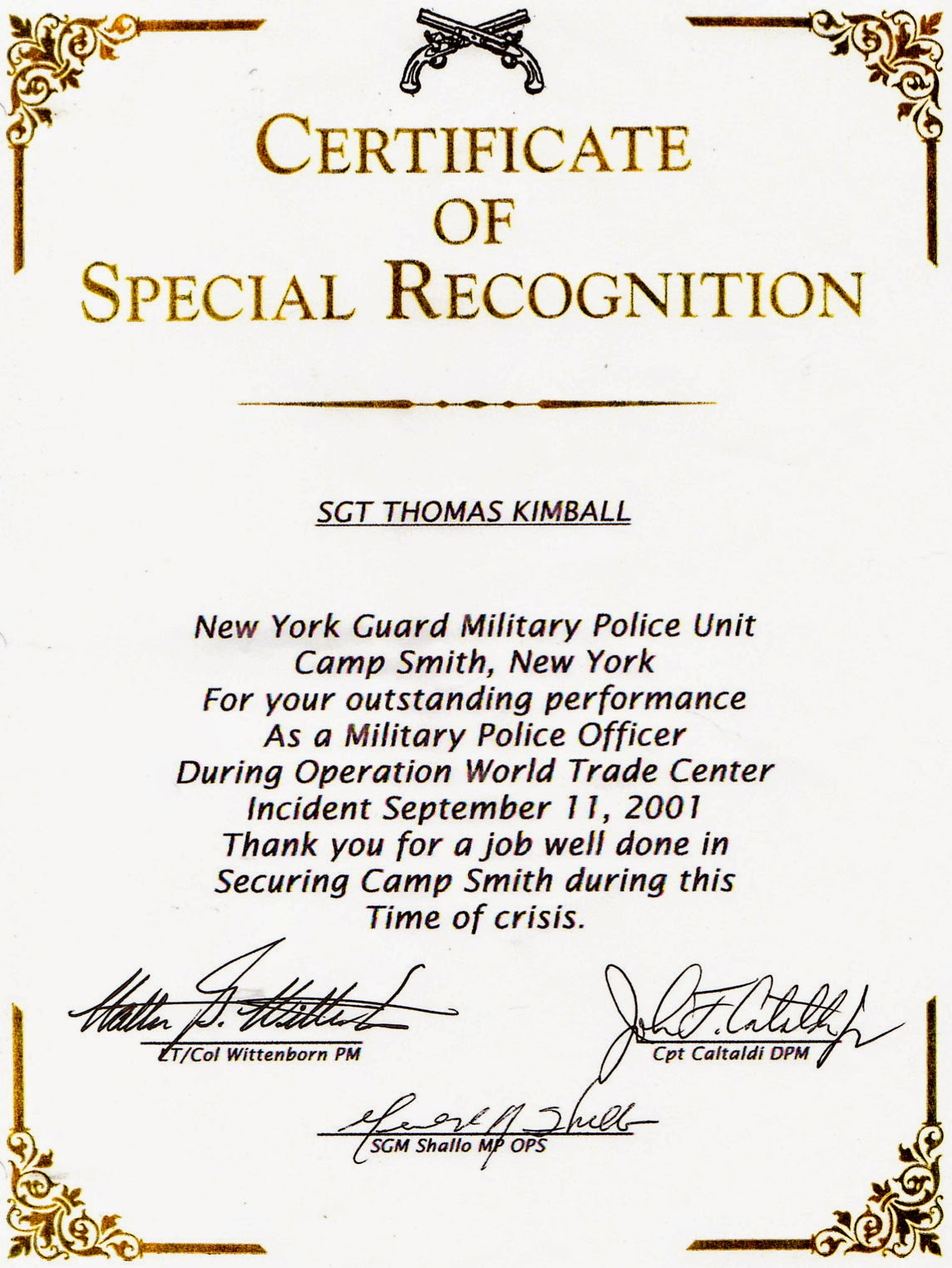 A Certificate of Special Recognition