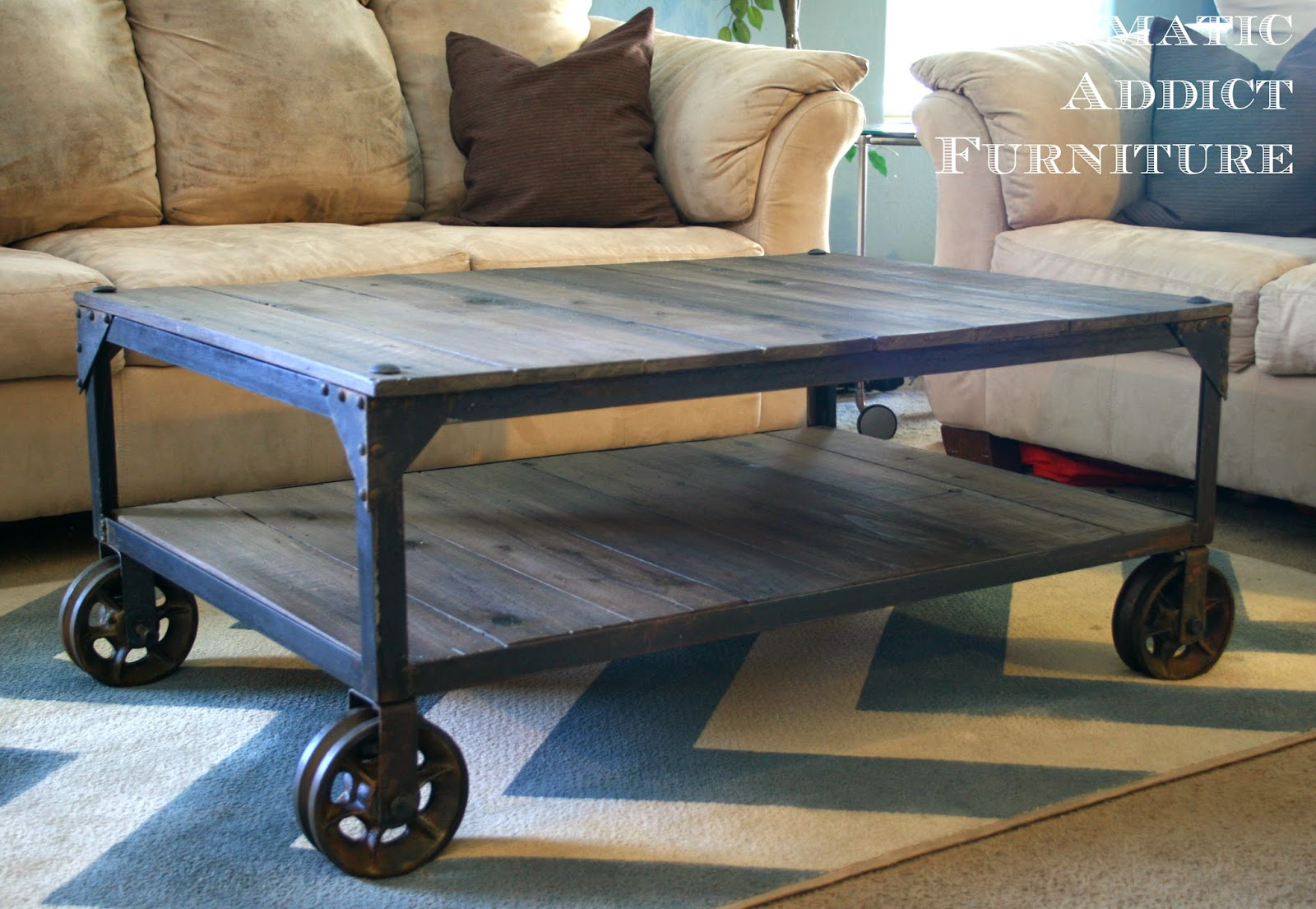 Factory caster vintage industrial furniture - Diy Industrial Coffee Table