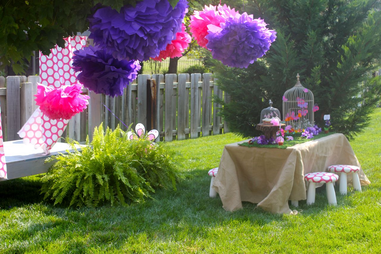 Because Fairies Always Live In The Garden We Set Table And Decor Up A Well Landscaped Part Of Our Backyard Is Just Childs Size Desk