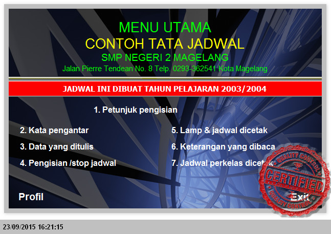 APLIKASI JADWAL SMP TAHUN 2015 DENGAN MICROSOFT EXEL + PERKELAS TAHUN PELAJARAN 2015-2016