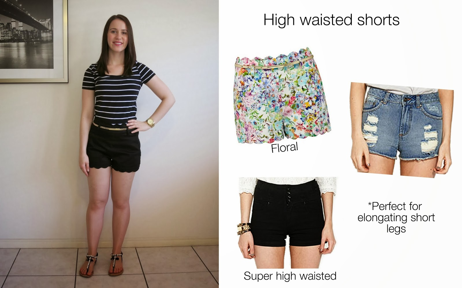 petite outfit, university outfit, college outfit, high waisted shorts, petite friendly clothes