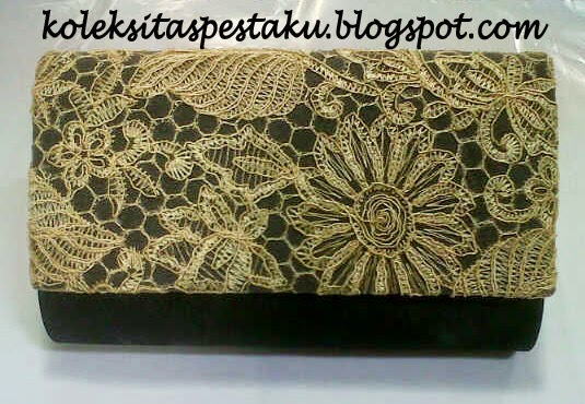 Dompet Clutch Bag Tas Model Terbaru Online Shop Hitam Gold