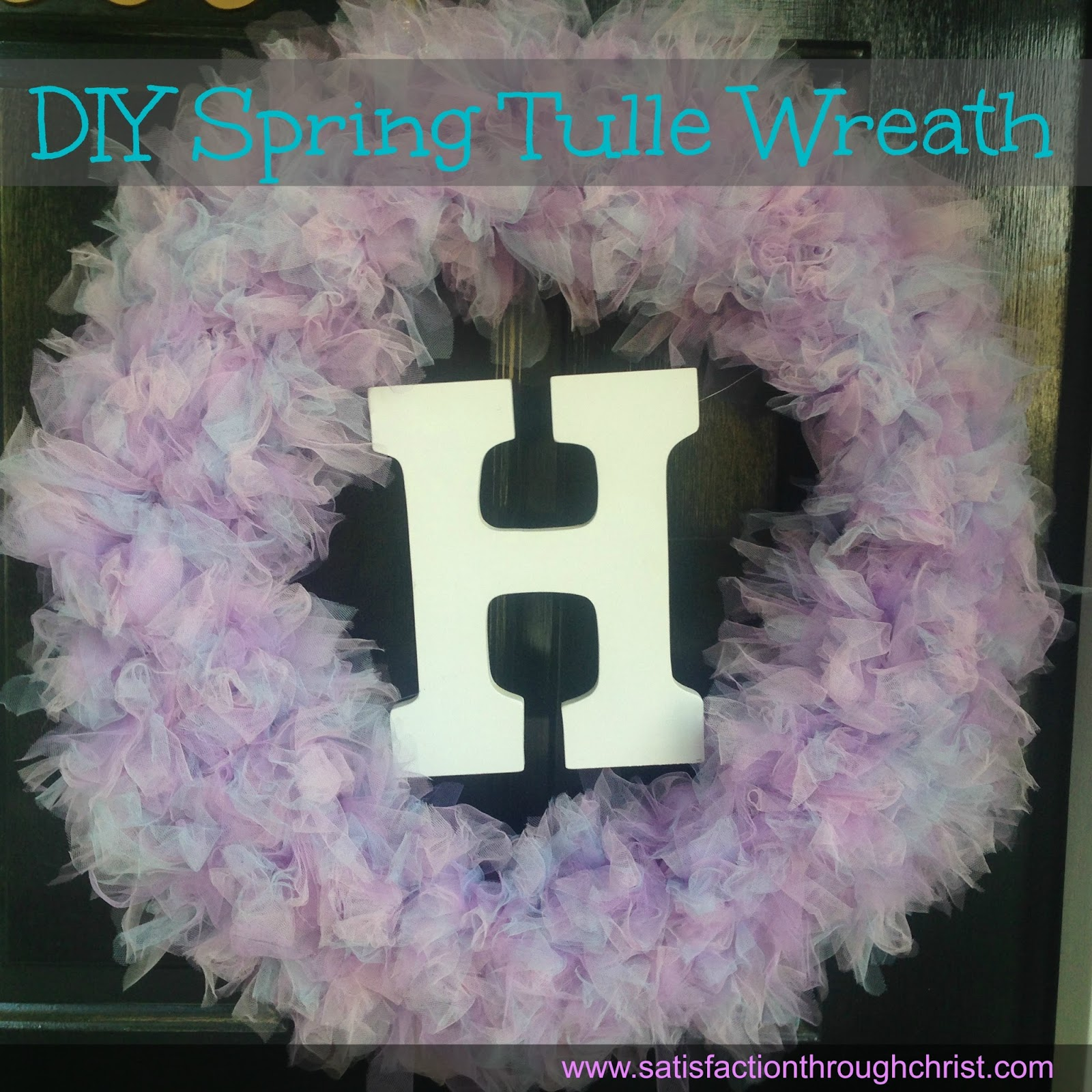 spring tulle wreath with initial
